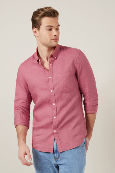 LINEN L/S CLASSIC FIT SHIRT  WASHED BERRY  hi-res
