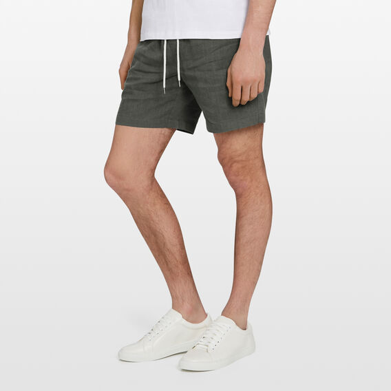 LINEN ELASTICATED SHORT  SAGE  hi-res