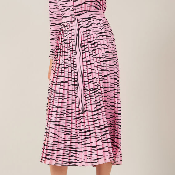 TIGER PLEATED MIDI DRESS  PINK  hi-res