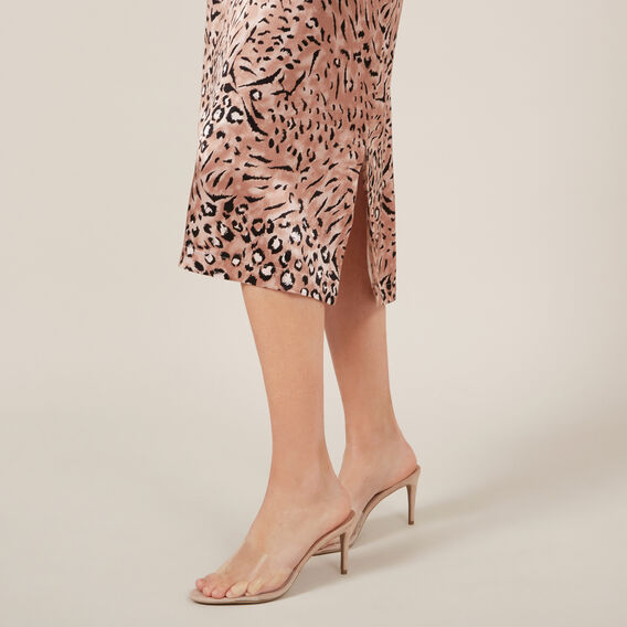 ANIMAL BLUSH SLIP SKIRT  BLUSH  hi-res