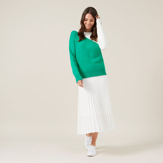 COLOUR BLOCK KNIT  SPRING GREEN  hi-res