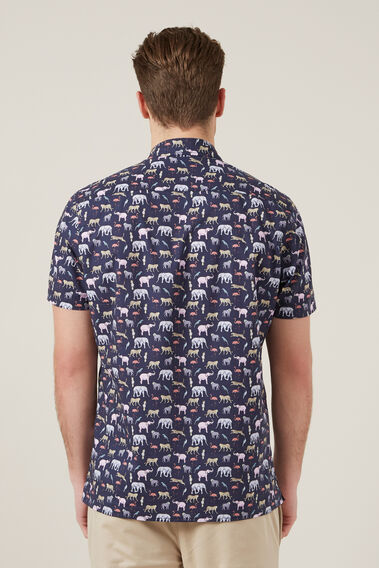 EXOTIC ANIMAL S/S CLASSIC FIT SHIRT  MARINE BLUE  hi-res