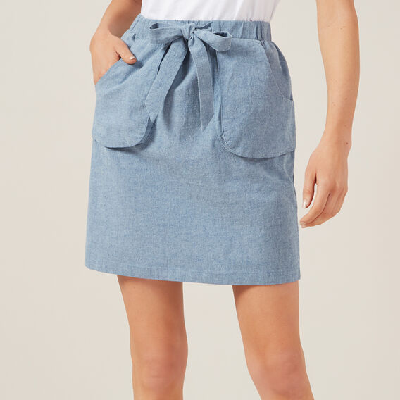CHAMBRAY TIE WAIST SKIRT  CHAMBRAY  hi-res