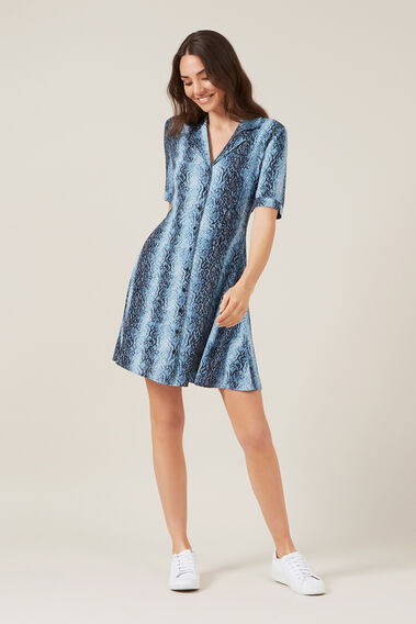 BLUE SNAKE MINI DRESS  BLUE  hi-res