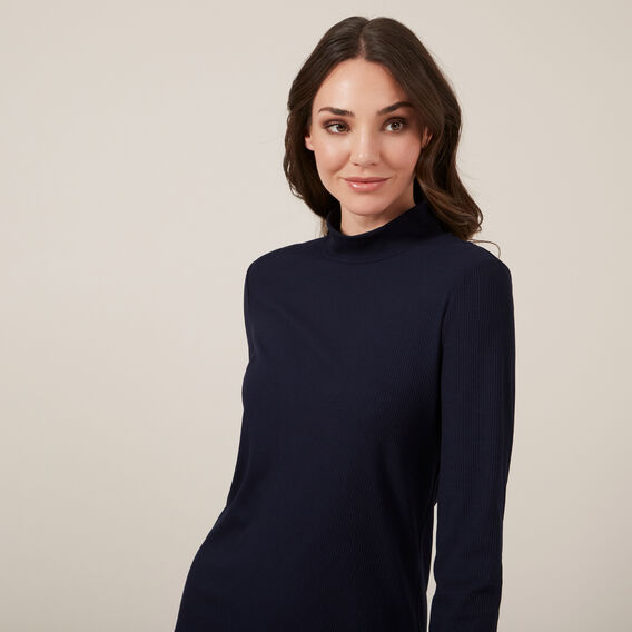 TURTLE NECK LONGSLEEVE TOP  NAVY  hi-res