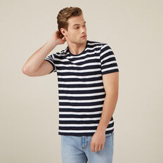 CLASSIC STRIPE CREW NECK T-SHIRT  NAVY/WHITE  hi-res