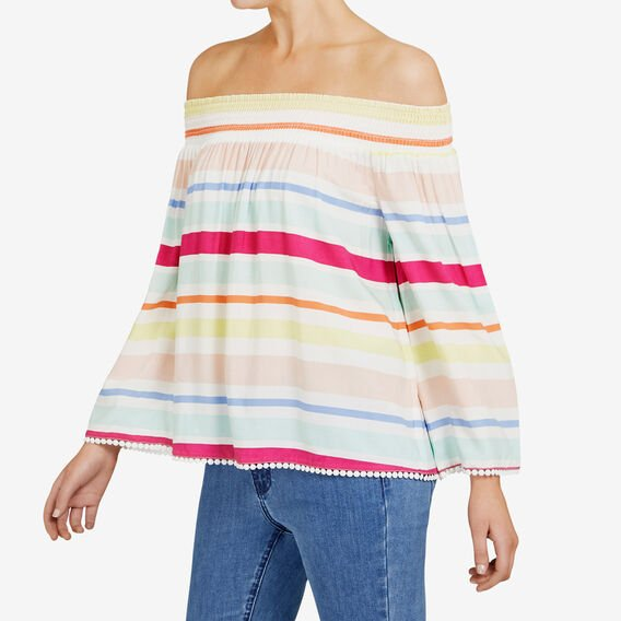 STRIPE OFF SHOULDER SHIRT  MULTI  hi-res