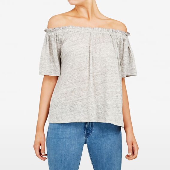 OFF SHOULDER LINEN TEE  GREY MARLE  hi-res