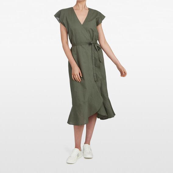 LINEN WRAP DRESS  KHAKI  hi-res