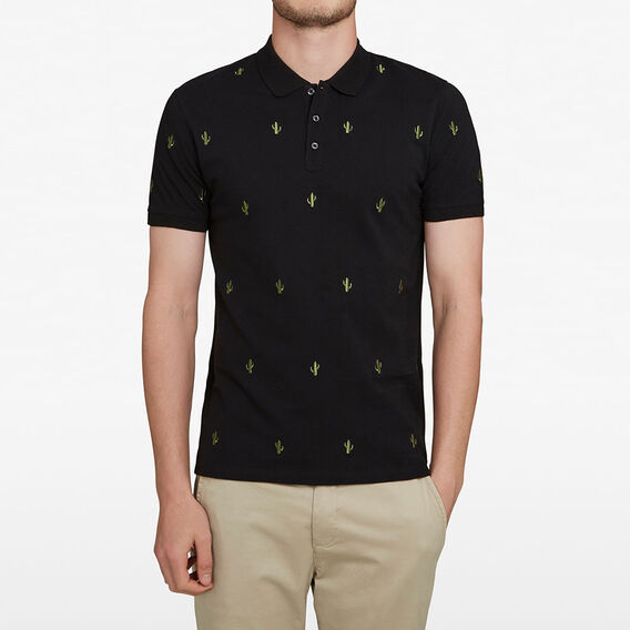 CACTUS EMROIDERED POLO  BLACK  hi-res
