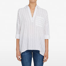 RELAXED STRIPE SHIRT  SUMMER WHITE/NOCTURN  hi-res