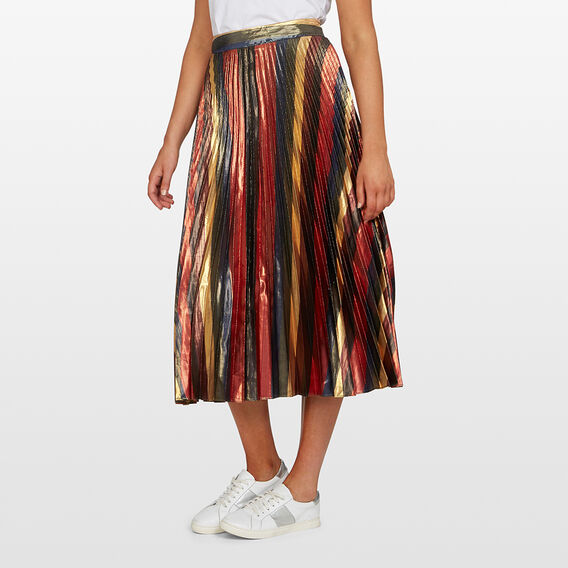 RAINBOW STRIPE PLEATED SKIRT  MULTI  hi-res