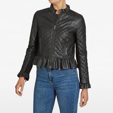 QUILTED PU JACKET  BLACK  hi-res