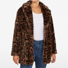 FAUX FUR ANIMAL COAT  CAMEL/MULTI  hi-res