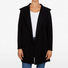 HOODED DRAPED COAT  BLACK  hi-res