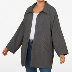 CHEVRON OVERSIZED COAT  CHARCOAL  hi-res