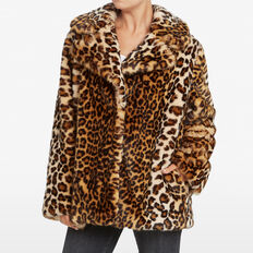 ANIMAL PRINT FAUX FUR COAT  MULTI  hi-res