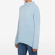 CHENILLE SLOUCHY JUMPER  SOFT BLUE  hi-res