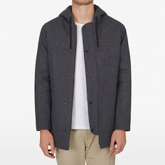HOODED WOOL COAT  CHARCOAL  hi-res