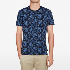 DARK FLORAL T-SHIRT  MARINE BLUE  hi-res