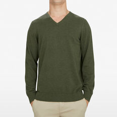 COTTON V-NECK KNIT  PINE GREEN MARL  hi-res
