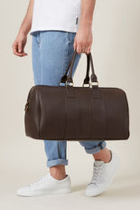 LEATHER LOOK WEEKENDER BAG  CHOCOLATE  hi-res