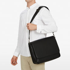 LEATHER LOOK MESSENGER BAG  BLACK  hi-res