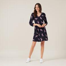 BABYDOLL TIGER PRINT DRESS  NAVY  hi-res