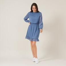 DOBBY MOCK NECK DRESS  BLUE  hi-res