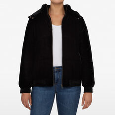 VELVET PUFFER JACKET  BLACK  hi-res