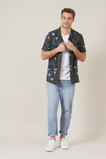 FLORAL S/S CAMP COLLAR CLASSIC FIT SHIRT  KHAKI  hi-res