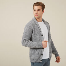SHAWL NECK CARDIGAN  BLACK/WHITE MARL  hi-res
