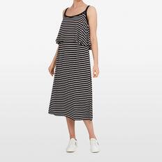 DOUBLE LAYER MAXI DRESS  BLACK/SUMMER WHITE  hi-res