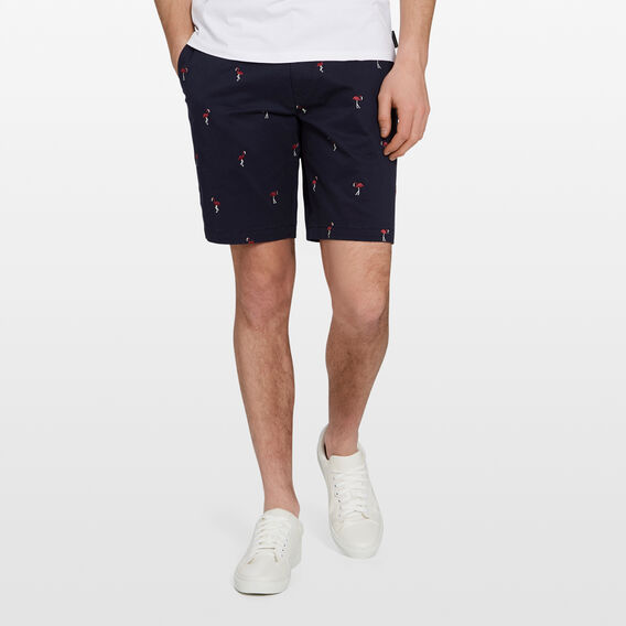 FLAMINGO EMBROIDERED CHINO SHORT  MARINE BLUE  hi-res