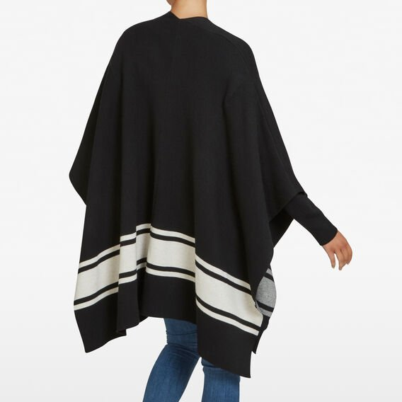 ELEVATED STRIPE PONCHO  BLACK/SUMMER WHITE  hi-res