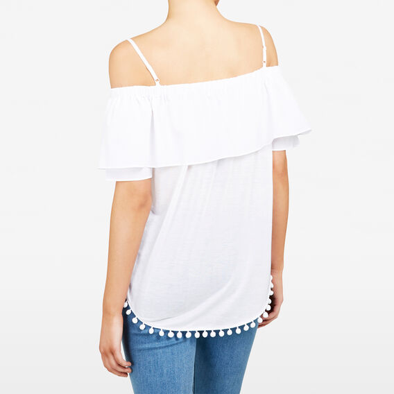 DOUBLE LAYER COLD SHOULDER TEE  SUMMER WHITE  hi-res