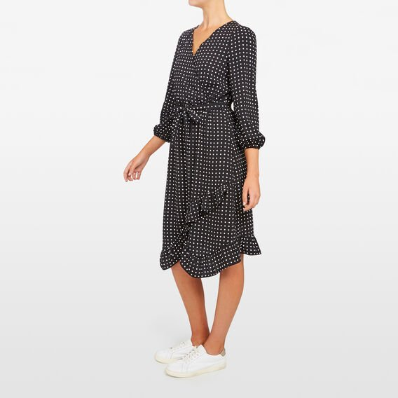 SPOT WRAP DRESS  BLACK/SUMMER WHITE  hi-res