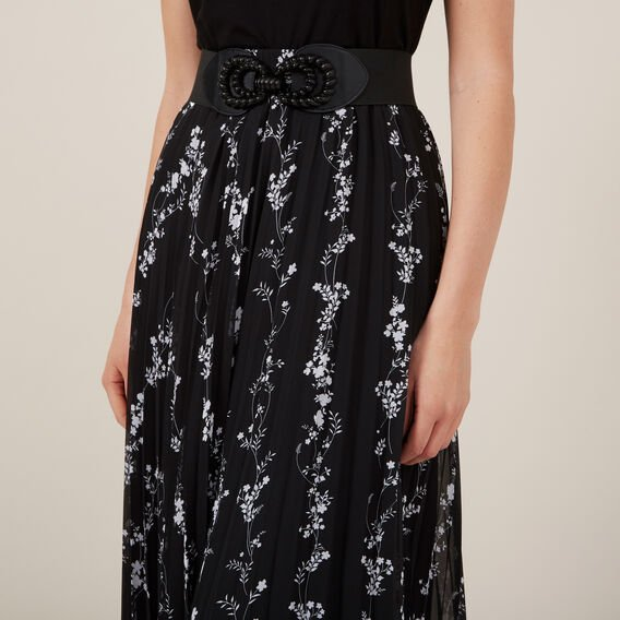 FLORAL PLEAT SKIRT  BLACK  hi-res