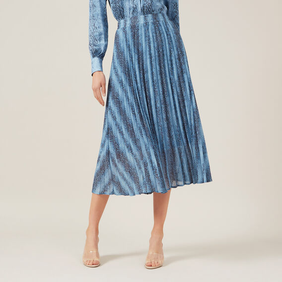 BLUE SNAKE PLEAT SKIRT  BLUE  hi-res