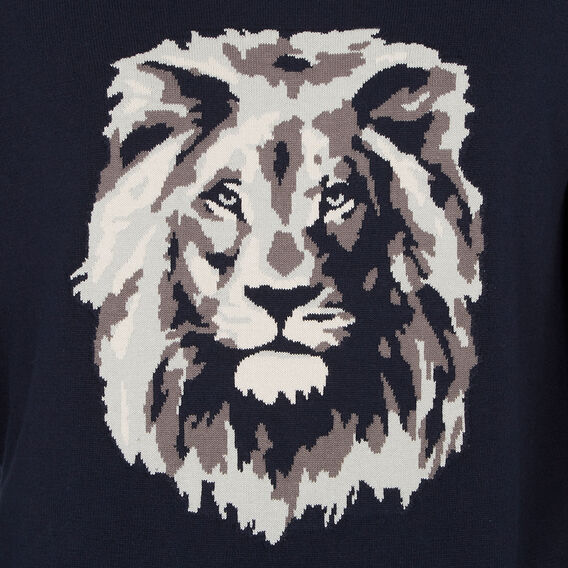 LION INTARSIA KNIT  MARINE BLUE  hi-res