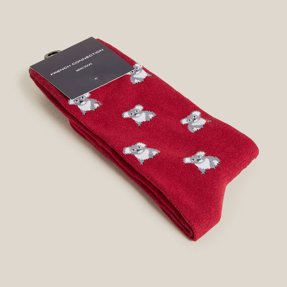 KOALA 1PK SOCKS  RED  hi-res