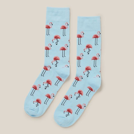 FLAMINGO 1PK SOCKS  PALE BLUE  hi-res