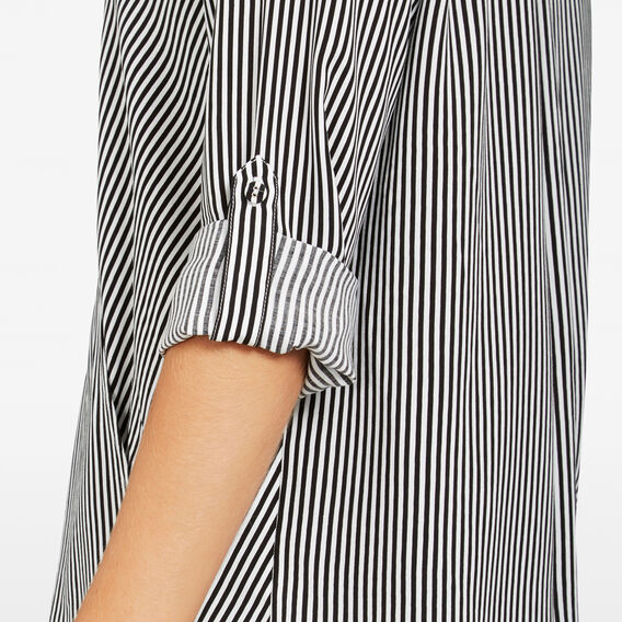 STRIPE WRAP POPOVER SHIRT  SUMMER WHITE/BLACK  hi-res