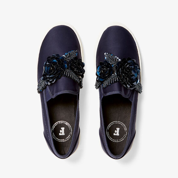 BEADED FLORAL PLIMSOLE  NAVY  hi-res