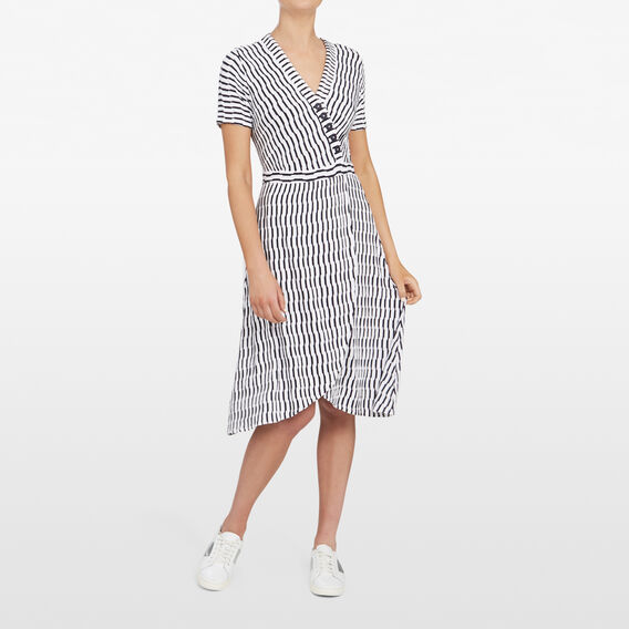 TEXTURED STRIPE WRAP DRESS  SUMMER WHITE/NOCTURN  hi-res