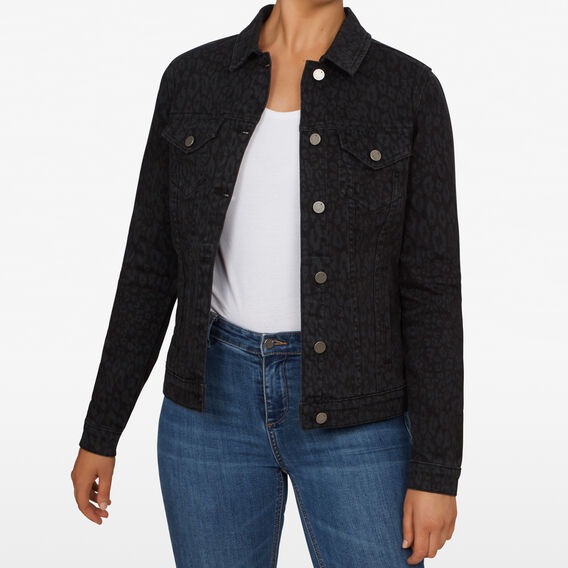 ANIMAL PRINT DENIM JACKET  MONOCHROME  hi-res