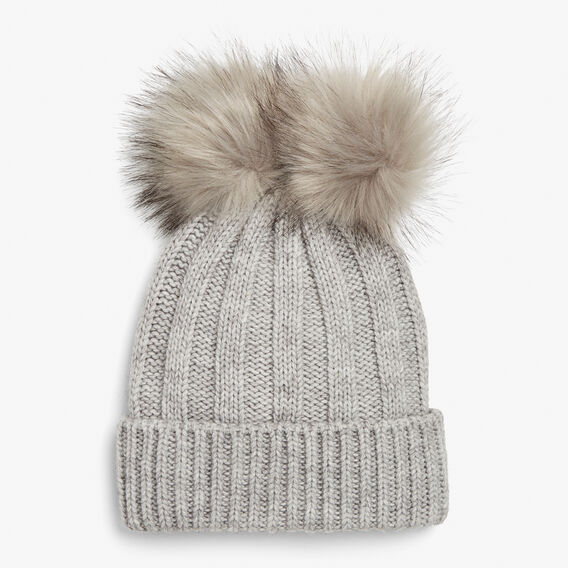 DOUBLE POM BEANIE  SOFT GREY  hi-res