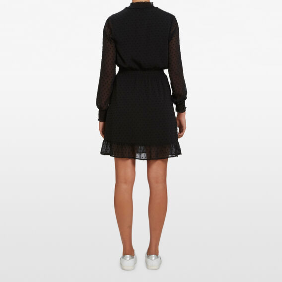 DOBBY MOCK NECK DRESS  BLACK  hi-res