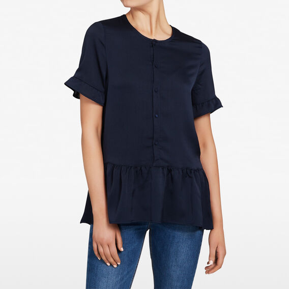 BABYDOLL FRILL BUTTON UP SHIRT  NOCTURNAL  hi-res