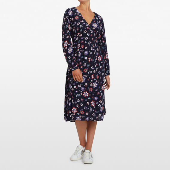 WINTER BLOOMS MIDI DRESS  NAVY/MULTI  hi-res